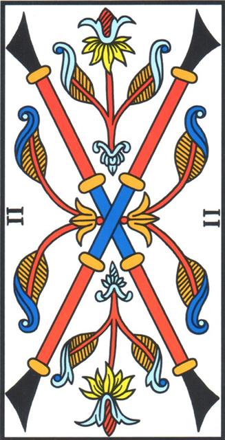 4 Di Bastoni.Due Di Bastoni Two Of Wands Tarocchi Di Marsiglia