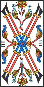 4 Di Bastoni.Quattro Di Bastoni Four Of Wands Tarocchi Di Marsiglia